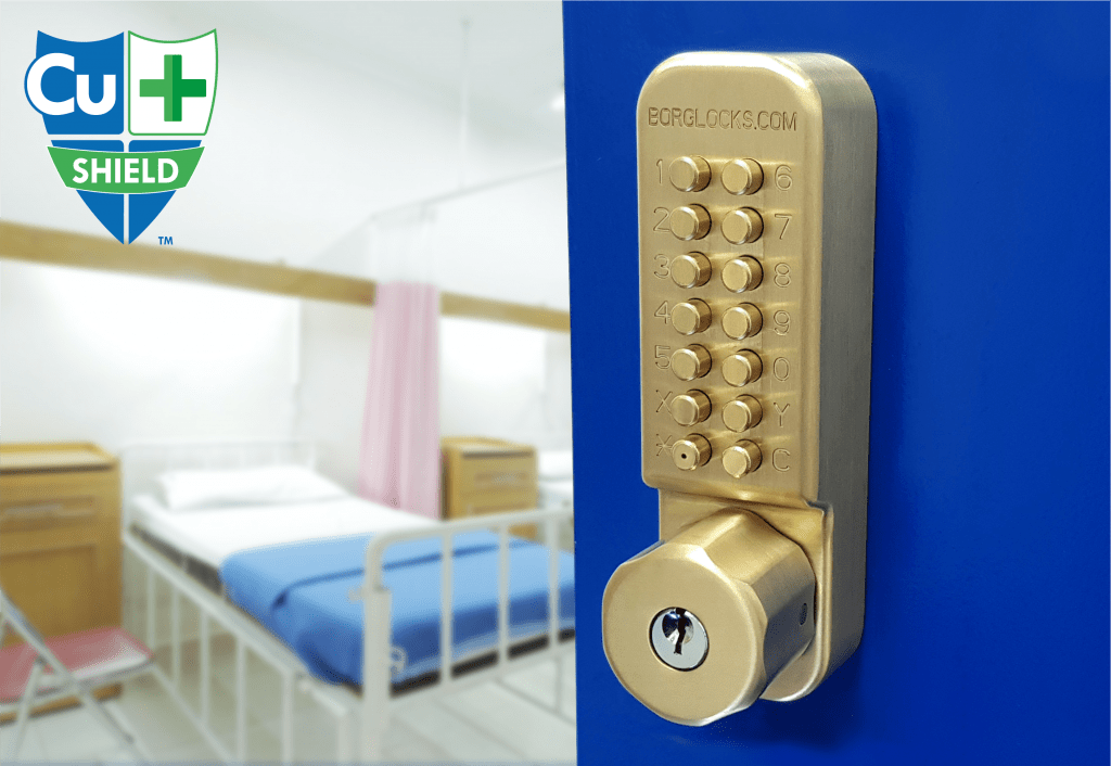 The Cu-Shield, the world's first copper-touch digital lock range designed to limit the transmission of COVID-19 on touch surfaces