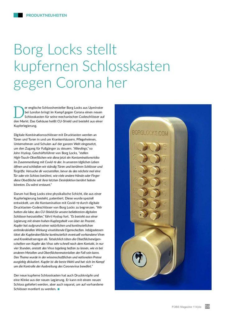 Cu-Shield by Borg Locks was featured in the FOBS Magazine